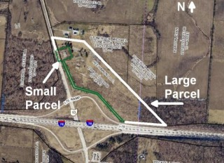 31 Acres @ I-70 & OH-13 in 2 tracts with buildings & cell tower