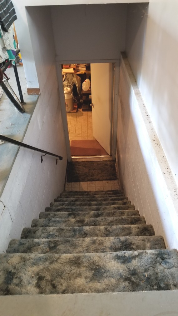 Steps To Lower Level Full Walk Out Concrete Block Wall Basement
