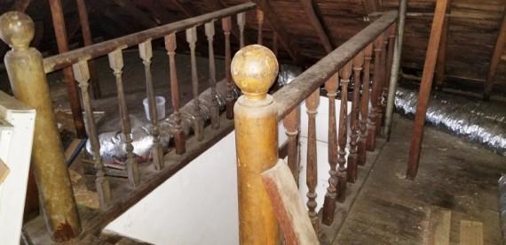 Attic Victorian Staircase Railing & Hardwood Floor