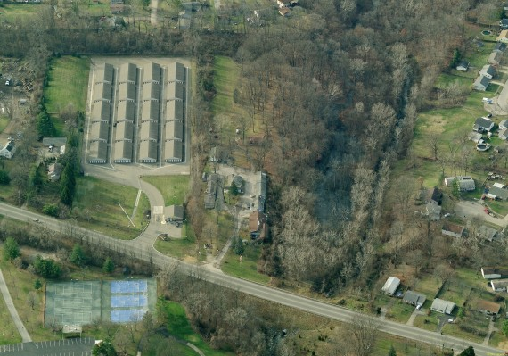 Aerial showing storage facility to the left